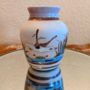 Vintage Tonala Bird In Flight Sand Vase